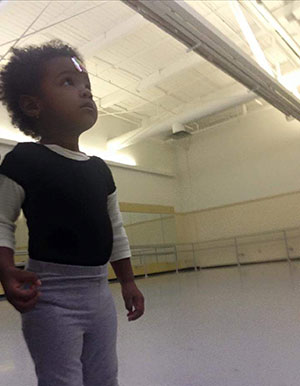 Dr. Melonie Nance's daughter, Lalitha, in her first ballet class at Pittsburgh Ballet Theatre.