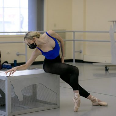 PBT Soloist Tommie Lin Kesten in rehearsal for choreographer Gina Patterson's new solo.