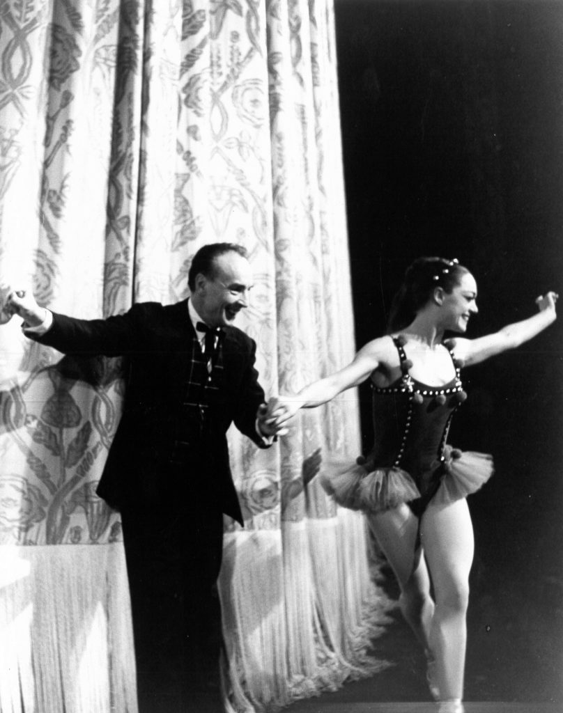 Patricia Wilde with George Balanchine at curtain call for Native Dancers